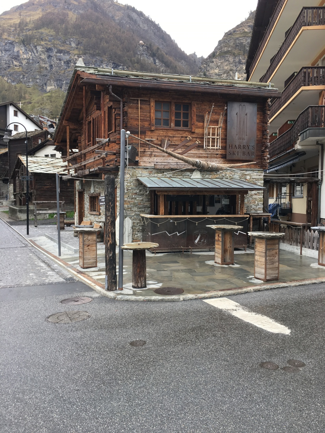 Downtown Zermatt, Switzerland, during the slow season. Brownell, May 2019