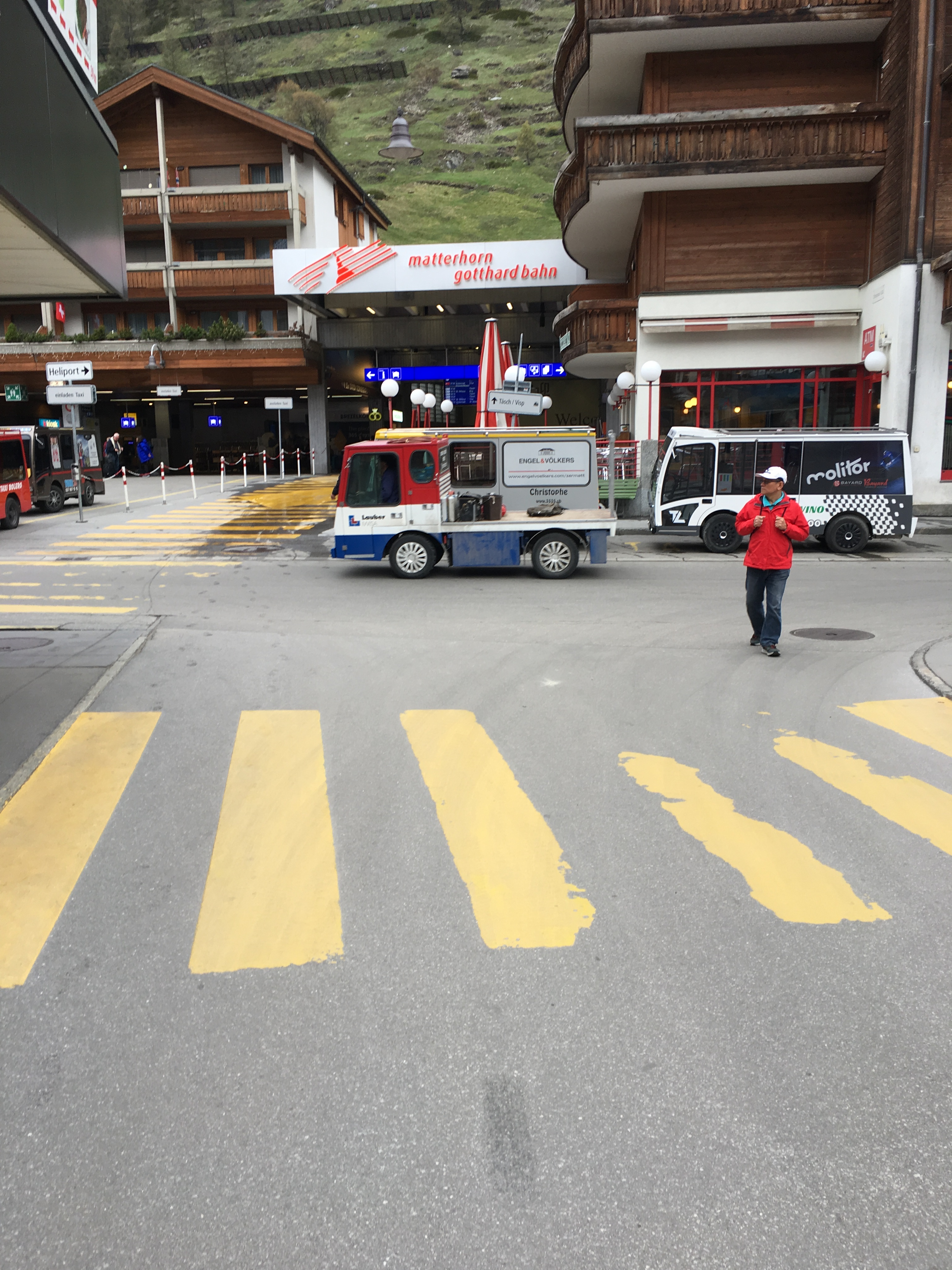 Entrance to the train station in Zermatt, Switzerland. Brownell, May 2019.