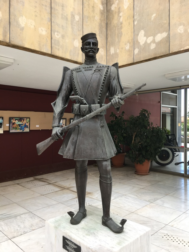 Statue of a Greek soldier at the military museum in Athens. Brownell, May, 2019