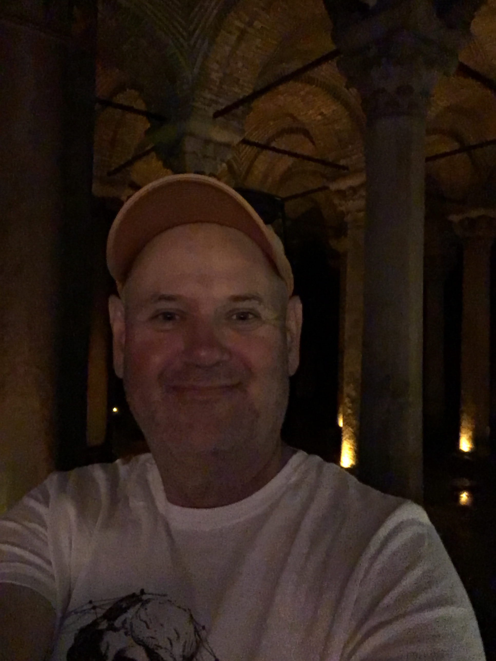 Author inside the basilica cistern, Istanbul. Brownell. 2019