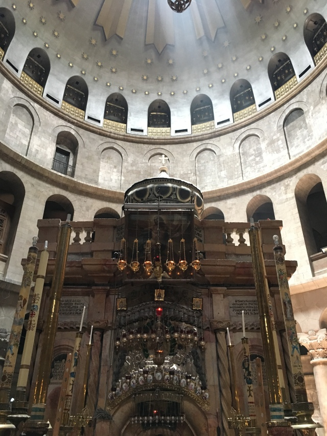 Shrine inside the Church of the Holy Sepulchre. Jerusalem. 2019
