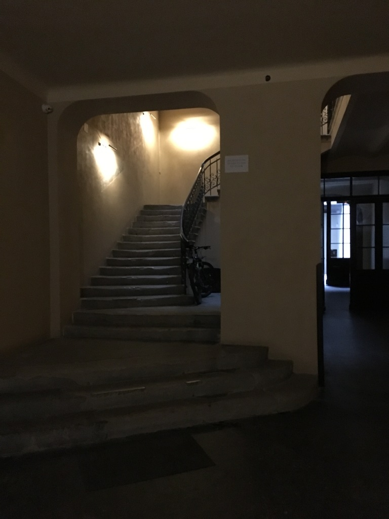 Inside entrance to the Rembrandt Aparthotel in Krakow, Poland. 2019. Brownell.