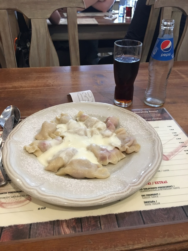 Freshly made pierogi, Krakow, Poland. 2019. Brownell.
