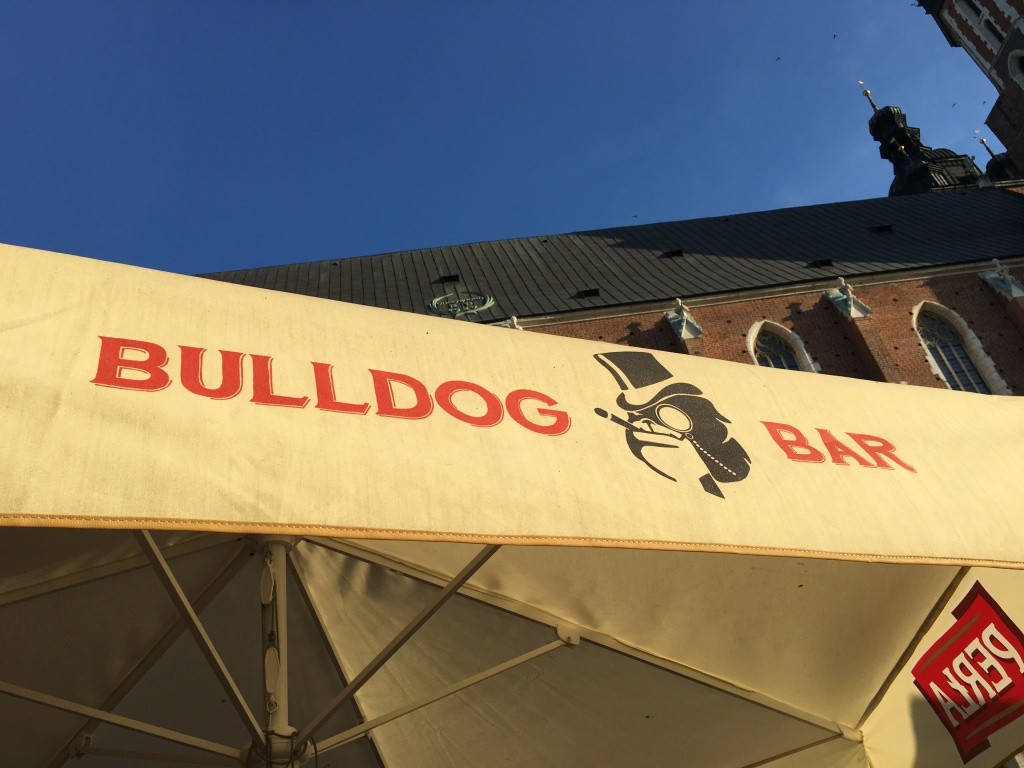 Awning of the Bulldog Bar, Krakow old Town square, Krakow, Poland. 2019. Brownell.